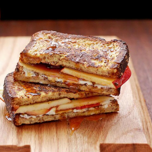french toast, apple and caramel grilled cheese
